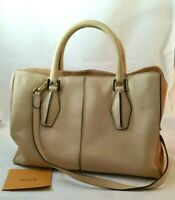 Tods D Styling Peach Beige Leather Tote Shoulder Crossbody Hand Bag Authentic