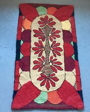 "VINTAGE EARLY 20TH C HAND PUNCHED / HOOKED RUG  30"" X 52 1/2"""