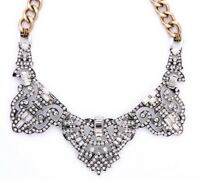 DESIGNER ART DECO Chunky Gold Chain Silver Crystal Rhinestone Statement Necklace