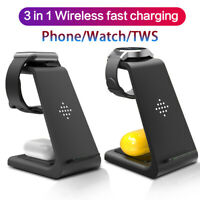 3in1 Wireless Fast Charger for iPhone 11 XS 8 Pro AirPod iWatch Samsung Stand Qi