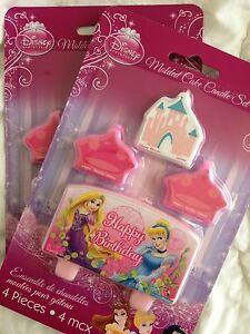 DISNEY PRINCESS CANDLES CINDERELLA & RAPUNZAL BIRTHDAY PARTY SUPPLIES LOLLY LOOT