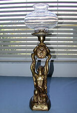 Beautiful Antique Art Nouveau Metal Golden Lady with Glass Bowl Shade ~L@@K~