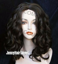 Big Silky Spiral Curly Wig with off center parting Dark Brown WANO 4
