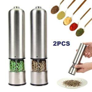 2PCS Electric Salt & Pepper Mills Grinder Set Shaker Adjustable Coarseness Light