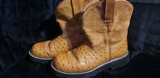 Ariat Women's FatBaby Ostrich Print Leather Western Boots Size 8.5B Brown/tan