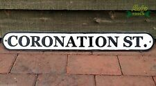 Cast Iron Coronation Street Sign Famous Corrie Fan Soap Road Sign Black & White
