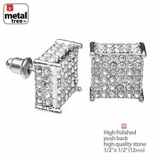 Men's Bling Rapper Silver XL Flat Block Square Pave CZ Stud Earring TE 531 S
