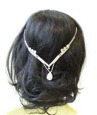 Silver Diamante Headpiece Bridal Hair Vine Headband Wedding Clip Vintage 1104
