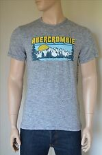 NUOVO ABERCROMBIE & FITCH Stampa Logo Graphic Tee Grey T-SHIRT M