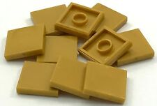 Lego 10 New Pearl Gold Tile 2 x 2 Groove Pieces