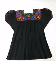 Vtg 70s Cotton Gauze Black Artsy Heavy Embroidered Hippy Boho Festival Top M
