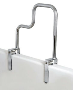 Carex Tri-Grip Bathtub Rail with Chrome Finish - Bathtub Grab Bar Safety Bar For
