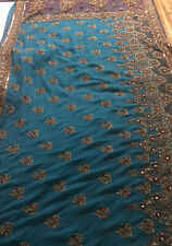 Chiffon Navy Blue with Gold Trim Adjustable Waist Saree NWT