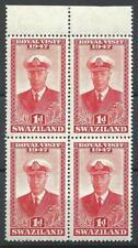 Swaziland 1947 Sc# 44 Royal visit King George GB colony block 4 MNH