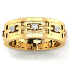 Real 0.23 Ct Diamond Mens Rings Solid 14K Yellow Gold Band Round Cut Size 5 6 7