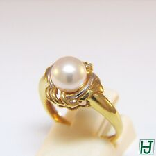 Brand New Pearl & Diamond Floral Design Ring in 18k 2-tone Gold, Size 6.5