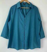 EBONY NZ beautiful Teal Blue Green Button Up Shift Size 18 16