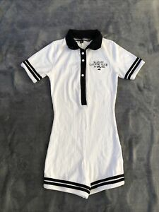 playboy x missguided white rib sports embroidery polo playsuit. Size Uk 8