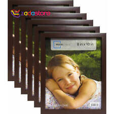 """8""""x10"""" Brown Linear Picture Frame 6 PC Set Lot Photo Family Home Wall Decor Wood"""