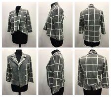 Women Ladies Lagenlook Quirky Short Grey Block Printed Check Blazer Jacket Coat