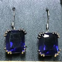 Large 4Ct Cushion Blue Sapphire Earrings Women Engagement 14K White Gold Plated