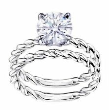18k White Gold Solitaire Engagement & Bands Ring Sets