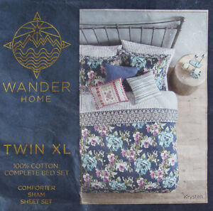 KRYSTEN FLORAL BLUE TWIN XL COMFORTER SHEETS PILLOWSHAM 5PC BEDDING SET NEW