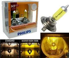 Philips Weather Vision Yellow 2900K H7 55W Two Bulbs Head Light Low Beam Replace