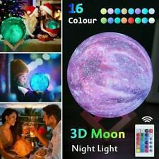 16 Colour Moon Galaxy Lamp USB Night Light Kids Dimmable LED 3D Remote Control