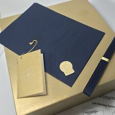 BLOOMINGDALES Large 12 X 12 X 6 Blue Gold Gift Box w/Tissue, Ribbon, Card, Seal