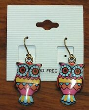 Vintage Gold Colorful Owl Drop Dangle Style Lead Free Earrings *Made In Korea*