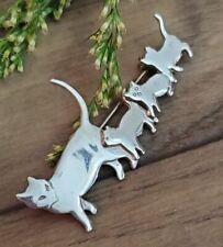 Sterling Silver Cat Family Brooch