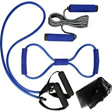 4tlg. Fitnessset Fitness Training Sport Set Springseil Widerstand Expander Gummi