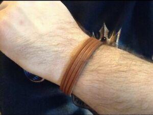 Handmade Unisex Genuine Tan Brown Leather Strand Hook Loop Closure Bracelet Boho