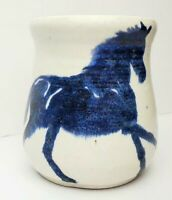 Vintage Handmade Pottery Coffee Mug with Glazed Blue Horse- Signed Sance Co. 85