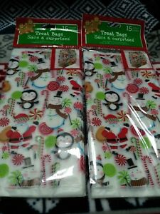 """30ct Christmas Holiday Cello Cellophane Candy Party Loot Treat Gift Bags 4x8x2"""""""