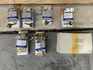 Six Lot Set NOS Vintage Masterlock Special No. 81w W/Chain All Locks Keyed Same