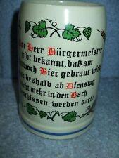 Original King .5L Beer Stein Germany Der herr Bürgermeister gibt bekannt