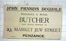 1926 John Francis Dugdale, Butcher Open Market Jew Street, Penzance