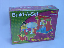 DOLL HOUSE DINING ROOM FURNITURE - BUILD-A-SET 35 PIECE WITH FIGURE