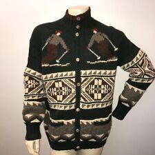 Ralph Lauren Polo Downhill Ski Wool Sweater Men's Large Green Button Up
