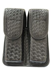 Bianchi Black Basketweave Double Magazine Leather Pouch Size 4 NWD/FS
