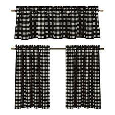 lovemyfabric Gingham Checkered Plaid Design 3-Piece Kitchen Valance-Black