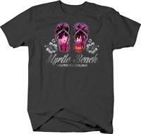 Myrtle Beach South Carolina Flip Flops Purple Sunset T shirt for men