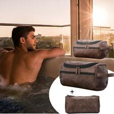 Leather Toiletry Bag Men Large Shaving Brush Cosmetic Organizer Travel Kits US