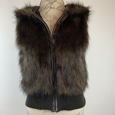 BB Dakota Women's Dark Brown Faux Fur Vest Full Zip With Hood Size XS