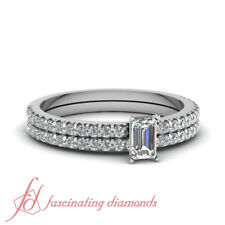.85 Ct Emerald Cut Diamond Sparkling Float Engagement Rings And Bands For Women
