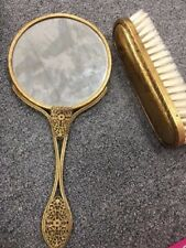Vintage Hand Held Mirror gold tone and Brush Set