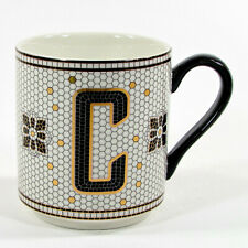 """Anthropologie TILED MARGOT MONOGRAM """"C"""" 15oz Mug Cup Black Metallic Gold"""