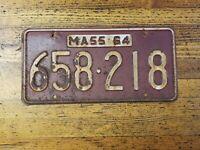 Vintage LICENSE PLATE Massachusetts 658 218  Car Tags Plates 1964 MAN Cave ☆USA